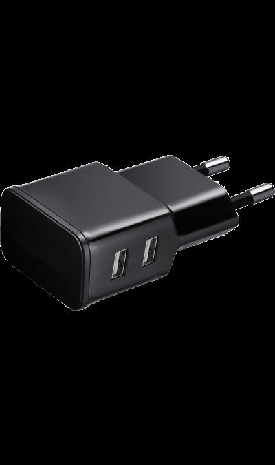 Зарядное устройство сетевое  (2 USB разъема)Зарядные устройства<br>Сетевое зарядное устройство можно использовать для зарядки аккумуляторов аппаратов с разъемом microUSB. USB кабель в комплект не входит<br><br>Colour: Черный