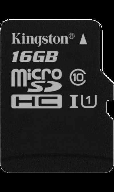 Карта памяти Kingston Technology MicroSD 16 ГБ class 10Карты памяти<br>Карта памяти стандарта microSD объемом 16 ГБ. Позволяет сохранять различные типы данных - как мультимедиа контент (звуки, мелодии, картинки, видеозаписи и пр.), так и всевозможные виды документов и файлов.<br>Дополнительные функции:<br><br>Защита от вирусов.<br>Защита от мощенничества.<br>Поиск при потере.<br>Фильтр звонков и смс.<br>