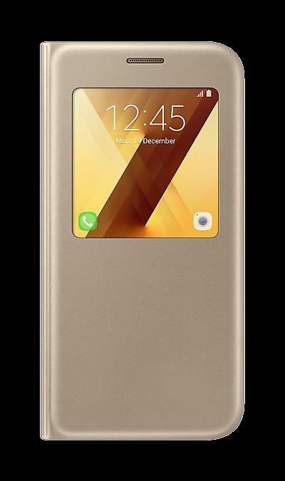 Samsung Чехол-книжка Samsung для Samsung Galaxy A5 (2017), полиуретан, золотистый samsung чехол крышка samsung для galaxy a5 2017 полиуретан прозрачный