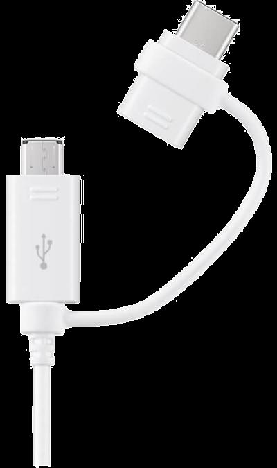 Кабель Samsung Type-C - microUSB (белый)Кабели и адаптеры<br>Кабель для соединения через USB-порт ноутбука или компьютера с устройствами с разъемом Type-C. Предусмотрен переходник на micro USB.<br>Длина кабеля- 1,5 м.<br>Скорость передачи данных: до 5 Гбит/сек.<br>Протокол: USB 3.0<br><br>Colour: Белый