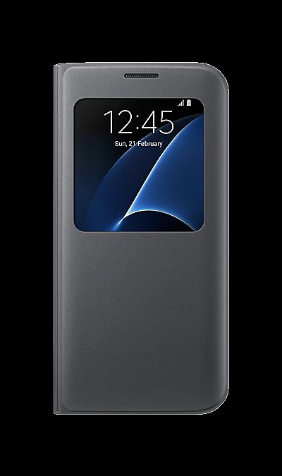 Чехол-книжка Samsung для Galaxy S7 Edge, полиуретан, черныйЧехлы и сумочки<br>Тонкий и стильный чехол с дополнительным окошком, изготовленный из высококачественных материалов и обеспечивает надежную защиту дисплея. Создан специально для Galaxy S7 Edge, практически не увеличивает габариты и сохраняет компактность смартфона.<br><br>Colour: Черный