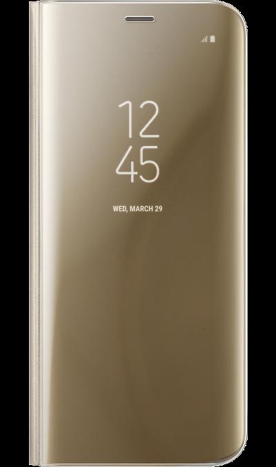 Чехол-книжка Samsung для Galaxy S8, полиуретан, золотистыйЧехлы и сумочки<br>Тонкий полупрозрачный чехол подчеркивает стиль и изящество смартфона. Аксессуар обеспечивает быстрый доступ к функциям - следите за информацией на экране, не открывая чехла. Сквозь прозрачную верхнюю крышку видны время, пропущенные вызовы, индикатор заряда. Флип-кейс отзывчиво реагирует на прикосновения - отвечайте на звонки одним легким движением. Чехол устойчив к появлению отпечатков пальцев - ваш смартфон всегда в аккуратном состоянии. Особое покрытие чехла защищает смартфон от повреждений, ...<br><br>Colour: Золотистый