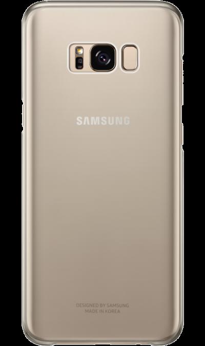 Чехол-крышка Samsung для Galaxy S8, пластик, золотистыйЧехлы и сумочки<br>Оригинальный чехол обеспечит надежную защиту задней крышке и торцам устройства. Не сильно увеличивает размеры смартфона. Оснащен необходимыми отверстиями под порты и камеру.<br><br>Colour: Золотистый