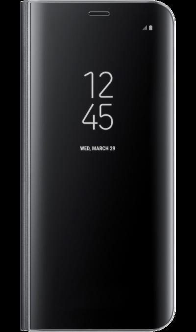 Чехол-книжка Samsung для Galaxy S8, полиуретан, черныйЧехлы и сумочки<br>Тонкий полупрозрачный чехол подчеркивает стиль и изящество смартфона. Аксессуар обеспечивает быстрый доступ к функциям - следите за информацией на экране, не открывая чехла. Сквозь прозрачную верхнюю крышку видны время, пропущенные вызовы, индикатор заряда. Флип-кейс отзывчиво реагирует на прикосновения - отвечайте на звонки одним легким движением. Чехол устойчив к появлению отпечатков пальцев - ваш смартфон всегда в аккуратном состоянии. Особое покрытие чехла защищает смартфон от повреждений, ...<br><br>Colour: Черный