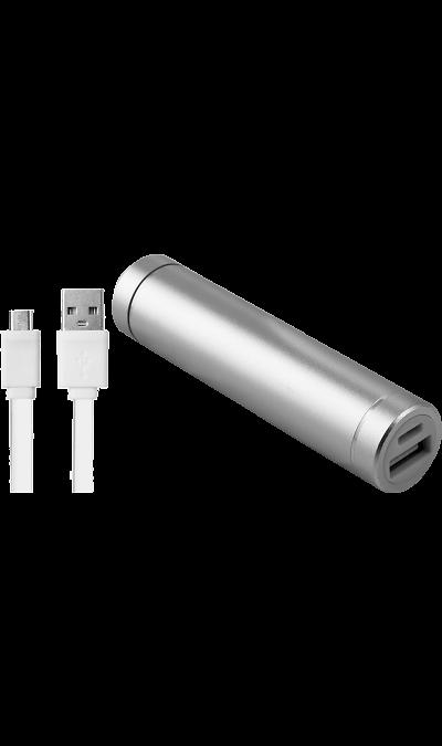 Аккумулятор  Power Bank, Li-Ion, 2500 мАч, серебристый (портативный)Аккумуляторы внешние<br>Резервный аккумулятор - устройство, предназначенное для зарядки портативных устройств без помощи электрической сети. Особенно актуален для путешественников и туристов в местах, где невозможен или ограничен доступ к электроэнергии. Резервный аккумулятор Continent подходит для портативных устройств, таких как смартфоны, мобильные телефоны и МР3-плееры.<br>Для зарядки устройств Apple необходимо использовать кабель идущий в комплекте с телефоном.<br><br>Colour: Серебристый