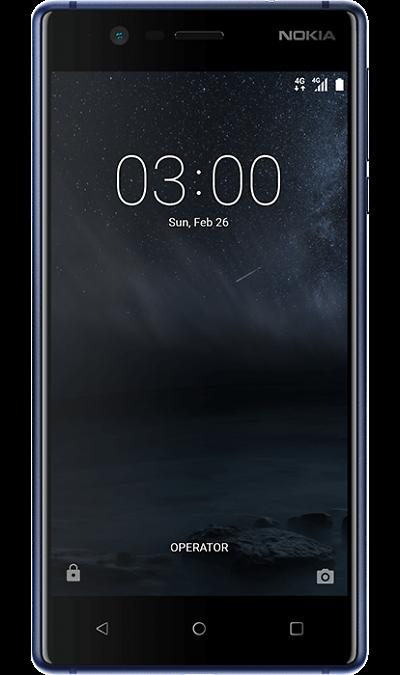 Nokia 3 BlueСмартфоны<br>2G, 3G, 4G, Wi-Fi; ОС Android; Камера 8 Mpix, AF; Разъем для карт памяти; MP3, FM,  GPS; Вес 145 г.<br><br>Colour: Синий