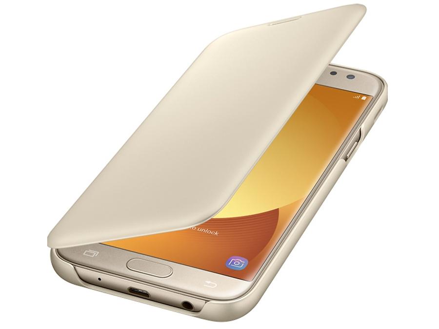 Фото Чехол-книжка Samsung для Galaxy J5 (2017), полиуретан, золотистый. Купить в РФ