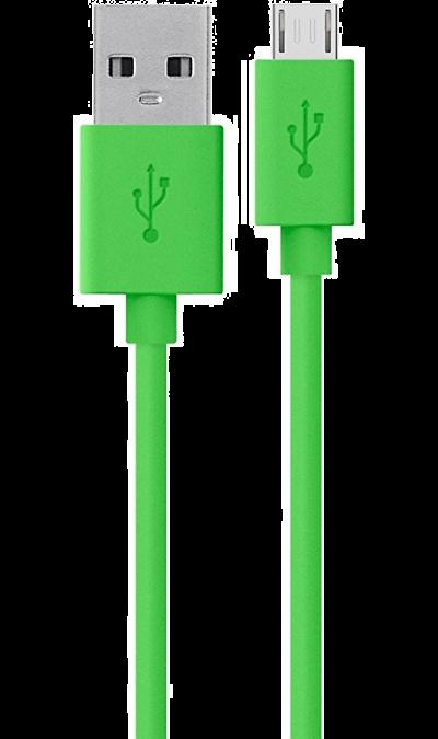 Кабель Continent USB A - micro USB B 2.0 (зеленый)Кабели и адаптеры<br>Кабель для соединения через USB-порт ноутбука или компьютера с телефонами, плеерами, фотоаппаратами, картридерами или другими устройствами  имеющими micro USB коннекторы.<br><br>Colour: Зеленый