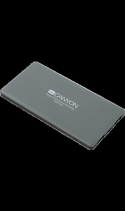 Аккумулятор Canyon CNS-TPBP5DG, Li-Pol, 5000 мАч, серый (портативный)Аккумуляторы внешние<br>Настоящая находка для владельцев iPhone! Этот ультратонкий литий-полимерный внешний аккумулятор оснащен входом для lightning кабеля а значит вам не нужно носить два провода: mini-USB для зарядки аккумулятора и lightning для зарядки iPhone. Аккумулятор такой маленький и тонкий, что вы просто не почувствуете его в вашем кармане или сумке. С помощью двух USB-выходов он может заряжать два устройства одновременно. Ёмкости батареи должно хватить на 2 цикла заряда среднестатистического смартфона. По ...<br><br>Colour: Серый