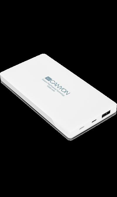 Аккумулятор Canyon CNS-TPBP10W, Li-Pol, 10000 мАч, белый (портативный)Аккумуляторы внешние<br>Настоящая находка для владельцев iPhone! Этот ультратонкий литий-полимерный внешний аккумулятор оснащен входом для lightning кабеля а значит вам не нужно носить два провода: mini-USB для зарядки аккумулятора и lightning для зарядки iPhone. Аккумулятор такой маленький и тонкий, что вы просто не почувствуете его в вашем кармане или сумке. Ёмкости батареи должно хватить на 4 цикла заряда среднестатистического смартфона. По сравнению с обычными литий-ионными, литий-полимерные батареи тоньше, легче и ...<br><br>Colour: Белый