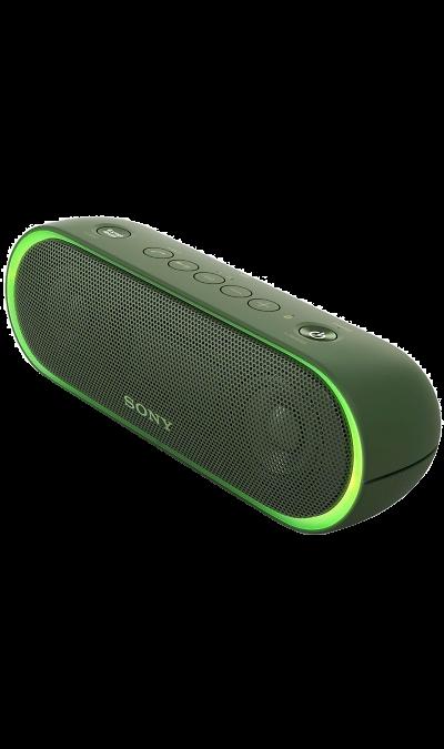 Sony SRS-XB20Портативная акустика<br>Максимум веселья.<br>Раскачайте вечеринку по полной, включив беспроводную акустическую систему SRS-XB20 с мощными басами и стильной подсветкой.<br><br>Почувствуйте ритм.<br>Мощное звучание, которое всегда с вами.<br><br>Добавьте басам мощности с EXTRA BASS.<br>Чтобы раскачать вечеринку, просто нажмите кнопку EXTRA BASS. Двойные пассивные излучатели в сочетании с полнодиапазонными стереодинамиками усиливают звучание низких частот, придавая им неожиданную глубину для ...<br><br>Colour: Зеленый