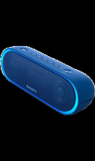 Sony SRS-XB20Портативная акустика<br>Максимум веселья.<br>Раскачайте вечеринку по полной, включив беспроводную акустическую систему SRS-XB20 с мощными басами и стильной подсветкой.<br><br>Почувствуйте ритм.<br>Мощное звучание, которое всегда с вами.<br><br>Добавьте басам мощности с EXTRA BASS.<br>Чтобы раскачать вечеринку, просто нажмите кнопку EXTRA BASS. Двойные пассивные излучатели в сочетании с полнодиапазонными стереодинамиками усиливают звучание низких частот, придавая им неожиданную глубину для ...<br><br>Colour: Синий