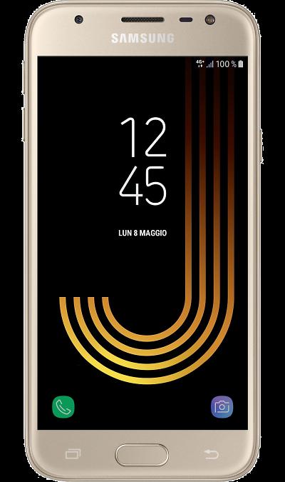 Samsung Galaxy J3 (2017) GoldСмартфоны<br>2G, 3G, 4G, Wi-Fi; ОС Android; Дисплей сенсорный емкостный 16,7 млн цв. 5; Камера 13 Mpix, AF; Разъем для карт памяти; MP3, FM,  GPS / ГЛОНАСС; Вес 138 г.<br><br>Colour: Золотистый