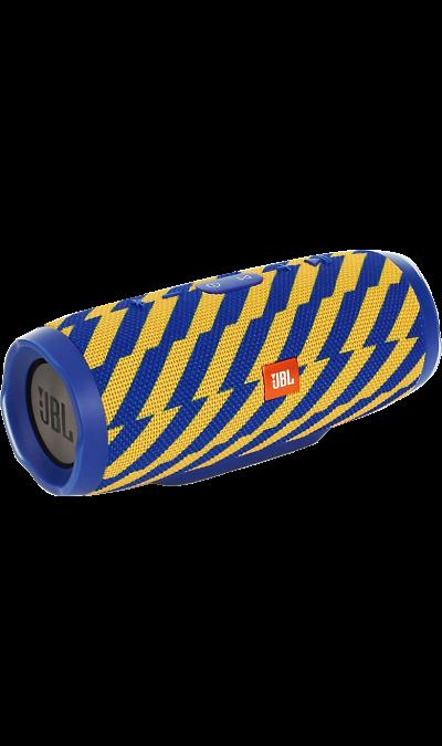 JBL Charge 3 Blue/YellowПортативная акустика<br>Уникальная беспроводная портативная акустическая система JBL Charge 3 гарантирует мощный стерео-звук и источник энергии в одном устройстве.<br><br>Благодаря водонепроницаемому прорезиненному тканевому корпусу, вечеринку с Charge 3 можно устроить в любом месте- у бассейна и даже под дождем. Аккумулятор высокой емкости на 6000 мАч гарантирует бесперебойную работу в течение 20 часов и позволяет заряжать смартфоны и планшеты по USB. Встроенный микрофон с шумо- и эхоподавлением гарантирует идеально ...<br><br>Colour: Голубой