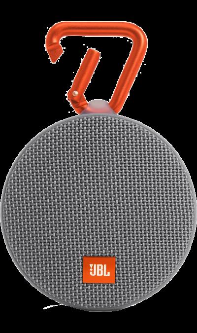 JBL Clip 2 GreyПортативная акустика<br>Подключай и слушай<br><br>JBL Clip 2 - ультра-легкая, ультра-прочная и ультра-мощная портативная акустическая система. Полностью водонепроницаемый JBL Clip 2 способен воспроизводить музыку до 8 часов в непрерывном режиме, позволяя брать любимые песни с собой в любое путешествие - по земле или воде. Воспроизводите музыку по беспроводной Bluetooth-связи или подключайте его к смартфону или планшету с помощью аудио-кабеля. Подключайте два Clip 2 по беспроводной связи для усиления звучания. ...<br><br>Colour: Серый