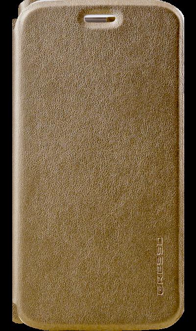 Чехол-книжка Gresso Absolut Air для Moto E4+, кожзам, золотистыйЧехлы и сумочки<br>Чехол поможет не только защитить ваш смартфон от повреждений, но и сделает обращение с ним более удобным, а сам аппарат будет выглядеть еще более элегантным.<br><br>Colour: Золотистый