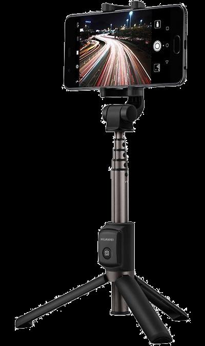 Монопод+штатив Huawei AF15Устройства для селфи<br>Беспроводной монопод-штатив Huawei AF15<br><br>Дизайн 2-в-1: штатив и монопод для селфи<br>Телескопическая конструкция<br>Поворот на 360 градусов<br>Пульт ДУ с Bluetooth 3.0<br>Надёжное крепление для смартфона размером 56-85 мм<br><br>Магнитные крепления преобразуют монопод в трехножный штатив<br>При помощи трехножного штатива удобно делать ночные снимки, световые рисунки и фотографии с длинной выдержкой.<br>Прекрасные групповые фото. <br>Длинная ручка ...<br>